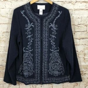 QVC Sz 10 / 12 Faux Suede JACKET Navy Embroidery